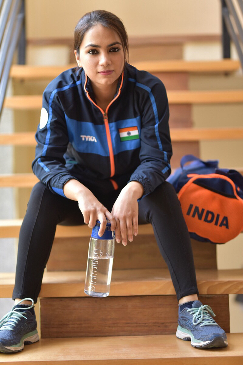 At the 2018 Asian Games, she paired with Ravi Kumar for the 10 meter air rifle mixed team event, and won a bronze medal.